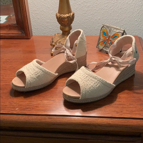 a89a129517 UGG Shoes | Wedges Cream Colored Lower Heel Ankle Tie | Poshmark